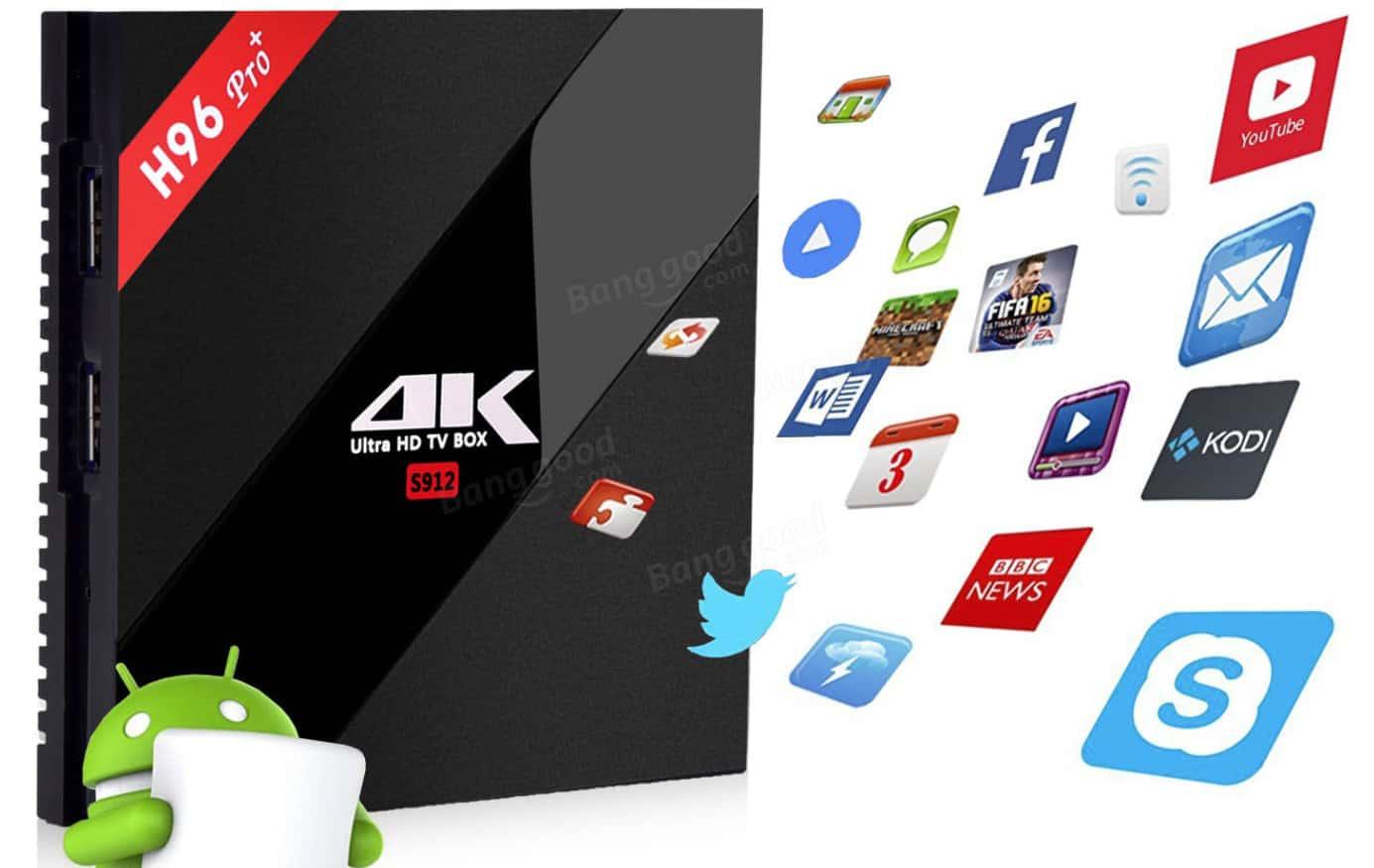 2444c86b13 TVBox H96 PRO+ S912 OctaCore 3GB 32GB  Bangood 41.94€ – GoMall Sales ...